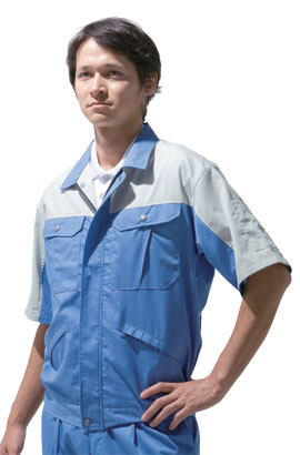 ツートン配色の作業服